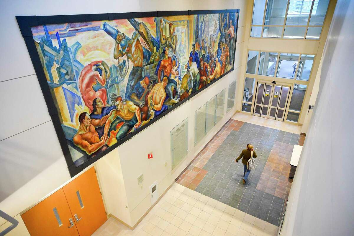 """The newly restored James Daugherty mural """"The World Outside,"""" from the Works Progress Administration era, is on display at Tully Health Center in Stamford."""