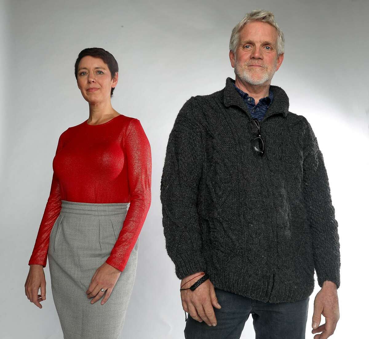 Author Mary Ladd (left) has launched her guide to navigating cancer �The Wig Diaries� with illustrator Don Asmussen (right) creator of the Chronicle's Bad Reporter comic strip as they talk about living with cancer on Thursday, Oct. 17, 2019, in San Francisco, Calif.