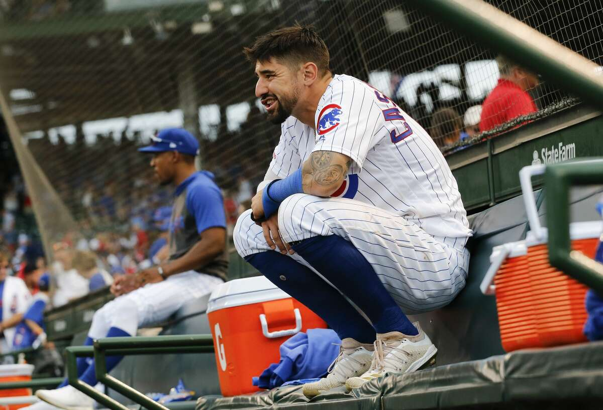 Nicholas Castellanos of the Chicago Cubs lingers in the dugout for a couple extra minutes following his team's 9-8 loss to the St. Louis Cardinals at Wrigley Field on Sept. 21, 2019.