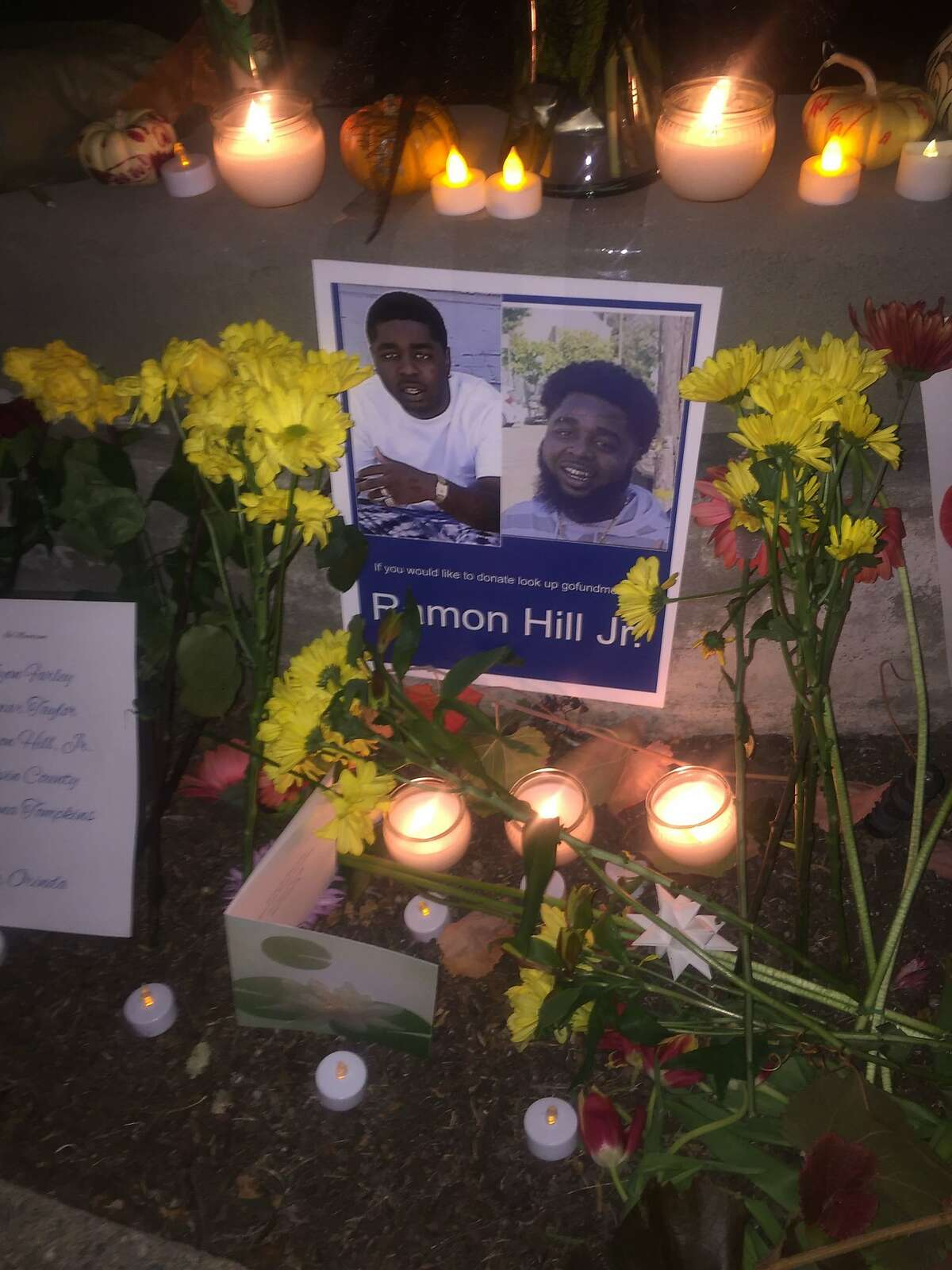 A spontaneous memorial has been placed outside the location in Orinda, Calif. where Raymon Hill Jr. was shot to death Halloween evening, while attending a party hosted in an AirBnB short-term rental home. Hill and three other people lost their lives that evening.