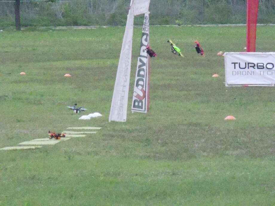 Drones take to the course during a racing event. The First Responder Iron Drone Competition features two days of drone activity and course speakers in Windcrest this Thursday and Friday. Photo: Photo Courtesy Of David Hook /
