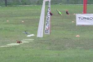 Drones take to the course during a racing event. The First Responder Iron Drone Competition features two days of drone activity and course speakers in Windcrest this Thursday and Friday.