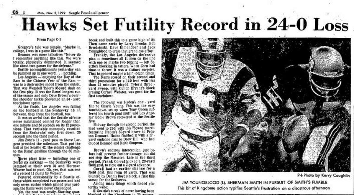 Newspaper coverage of the Seahawks' 24-0 loss against the Los Angeles Rams on Nov. 4, 1979. The game ended with the Hawks netting -7 yards, the worst in NFL history.