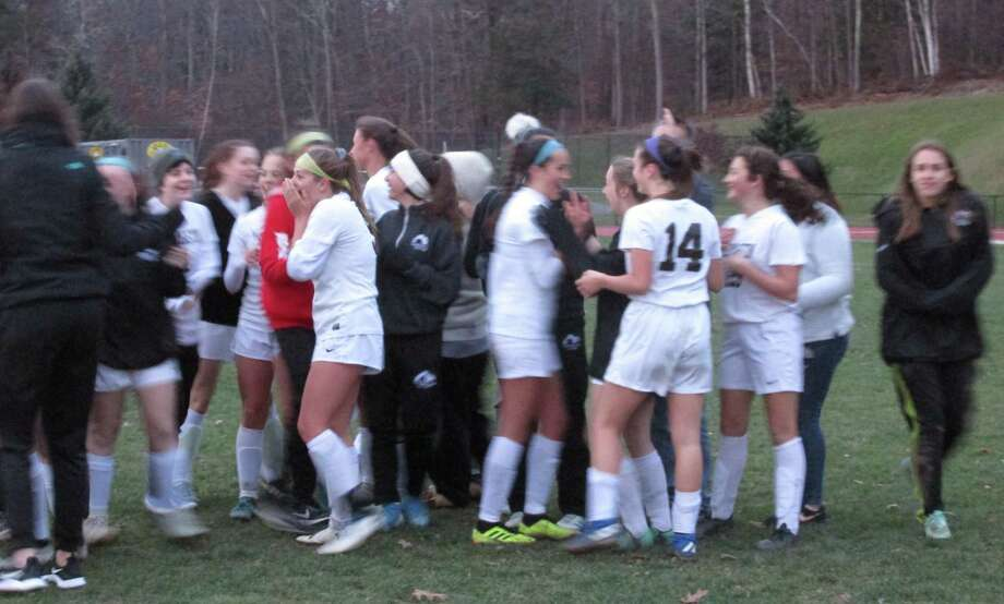 Thomaston's girls soccer team qualified for the Class S state tournament in a program revival after a long dry spell with a win at Northwestern High School Monday afternoon. Photo: Peter Wallace / For Hearst Connecticut Media
