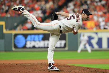 Houston Astros starting pitcher Justin Verlander throws against the Washington Nationals during the first inning of Game 6 of the baseball World Series Tuesday, Oct. 29, 2019, in Houston. (AP Photo/Mike Ehrmann, Pool)
