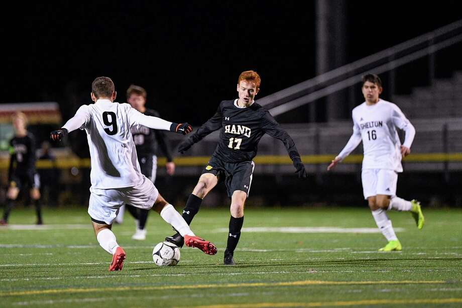 Daniel Hand defeated Shelton High in OT, 1-0, in an SCC semi-final match at the Surf Club in Madison, CT, Monday November 4, 2019. Photo: David G. Whitham / For Hearst Connecticut Media / Stamford Advocate Freelance