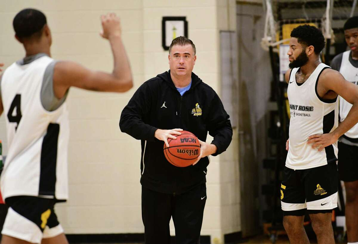 St. Rose men's basketball coach Mike Perno is seen at practice on Monday, Nov. 4, 2019 in Albany, N.Y. (Lori Van Buren/Times Union)