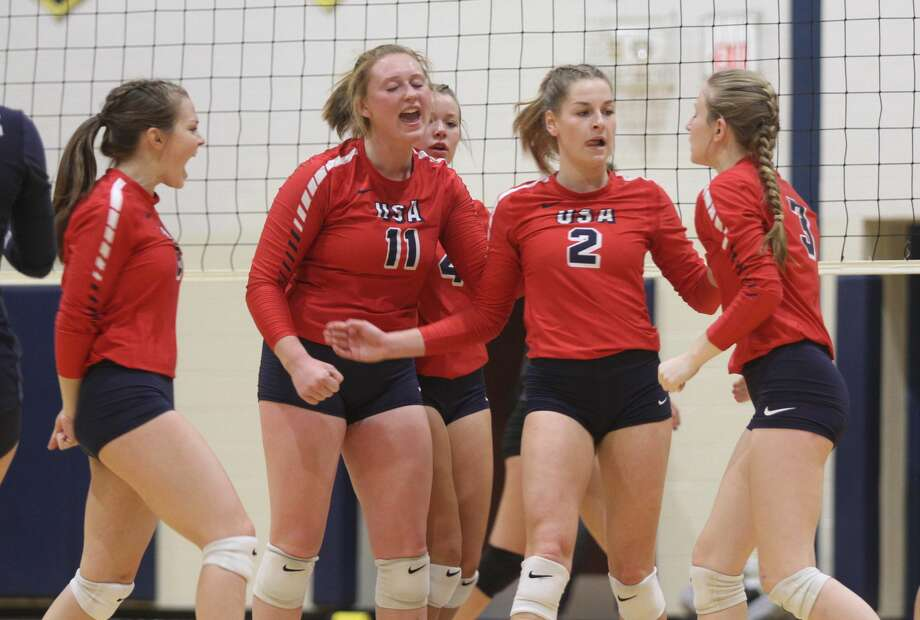 The USA Patriots defeated Harbor Beach in straight sets during the district opener on Monday, Nov. 4 at Bad Axe High School. Photo: Eric Rutter / Huron Daily Tribune