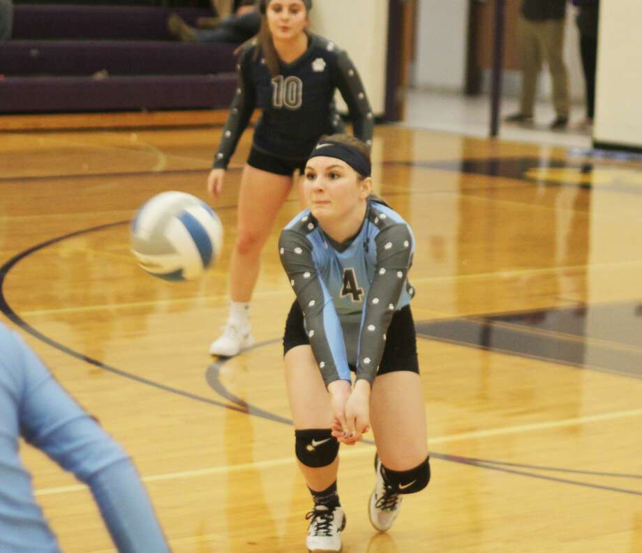 Brethren's Kaia Richardson eyes up a dig during the Bobcats' victory over Bear Lake on Monday in a Division 4 district quarterfinal in Frankfort. Photo: Kyle Kotecki/News Advocate