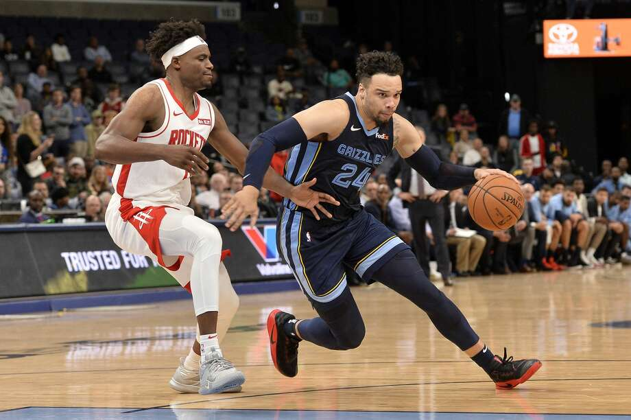 Memphis Grizzlies guard Dillon Brooks (24) drives ahead of Houston Rockets forward Danuel House Jr. in the second half of an NBA basketball game Monday, Nov. 4, 2019, in Memphis, Tenn. (AP Photo/Brandon Dill) Photo: Brandon Dill/Associated Press