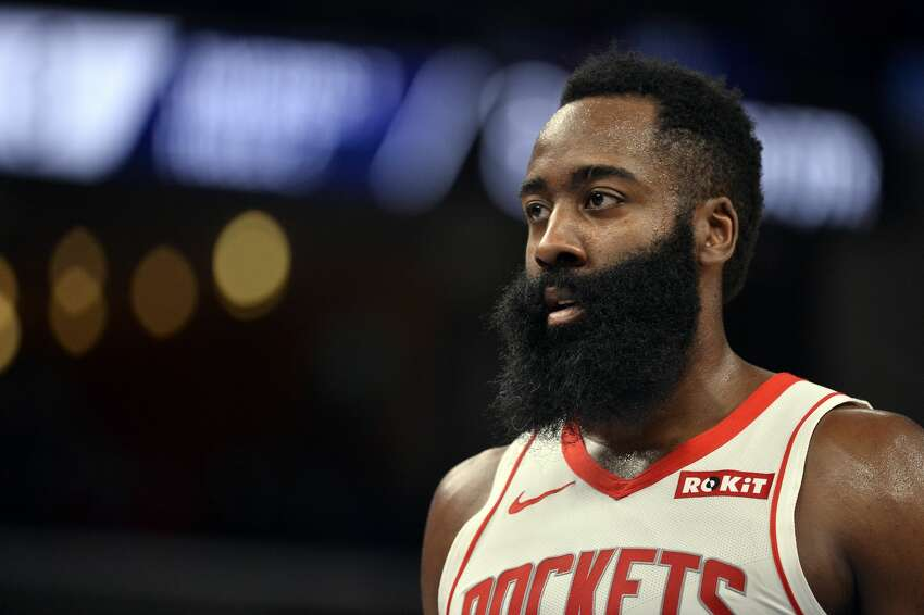 Houston Rockets guard James Harden stands on the court in the first half of an NBA basketball game against the Memphis Grizzlies Monday, Nov. 4, 2019, in Memphis, Tenn. (AP Photo/Brandon Dill)