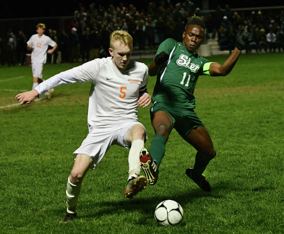 Bethlehem's Colden Abbott went against Shenendehowa's Jaylin Sykes in last year's Class AA boys' soccer final. Bethlehem will not be playing boys' soccer this fall. (Lori Van Buren/Times Union)
