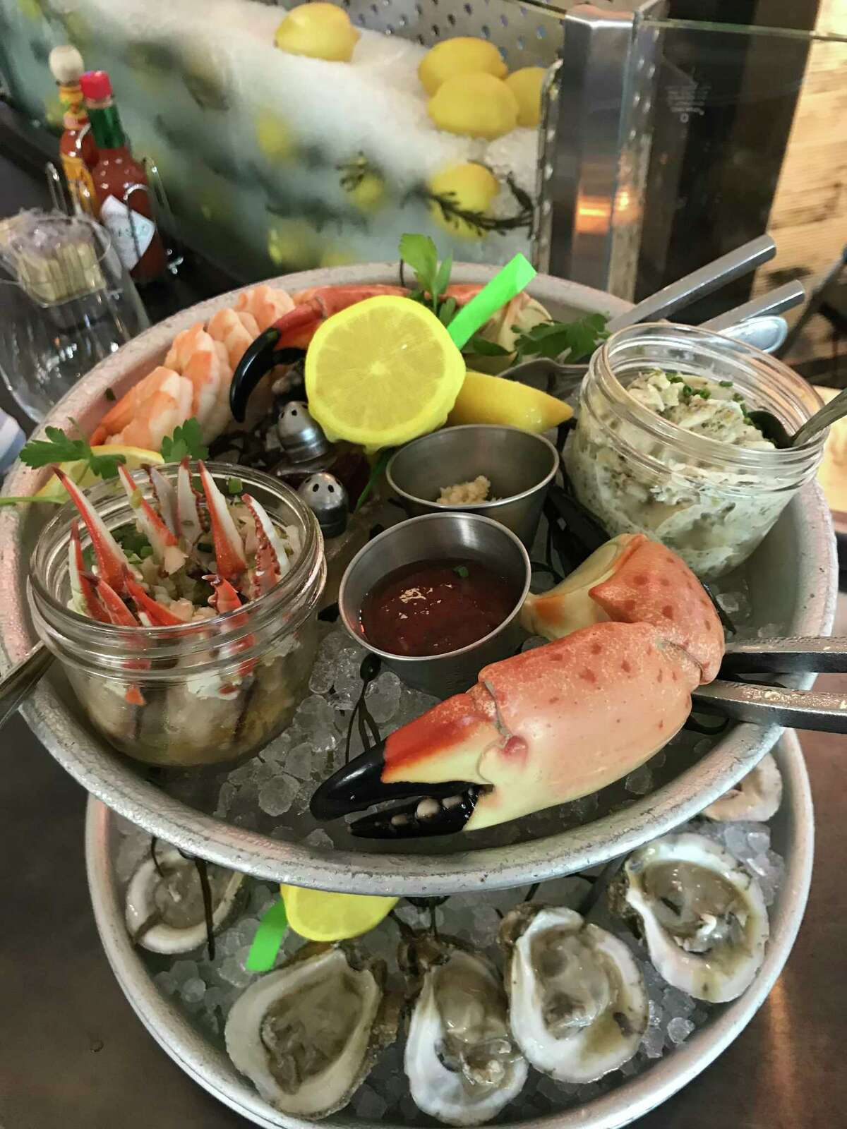 """The """"Grand Prize"""" seafood towerat Goode Co. Seafood, 10201 Katy Fwy."""