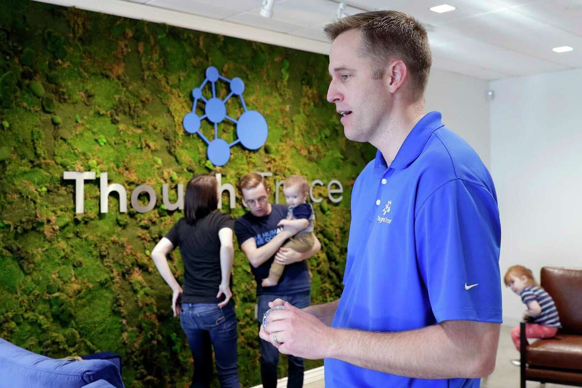 CEO Nick Vandivere at the monthly team building meeting for employees at ThoughtTrace in their company offices Thursday, Sep. 26, 2019 in Houston, TX.