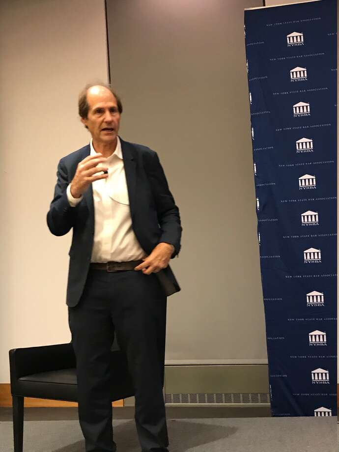 Legal scholar Cass Sunstein discusses what constitutions an impeachable offence at a talk on Oct. 15 at Fordham Law School in New York City Photo: Paul Grondahl / Times Union
