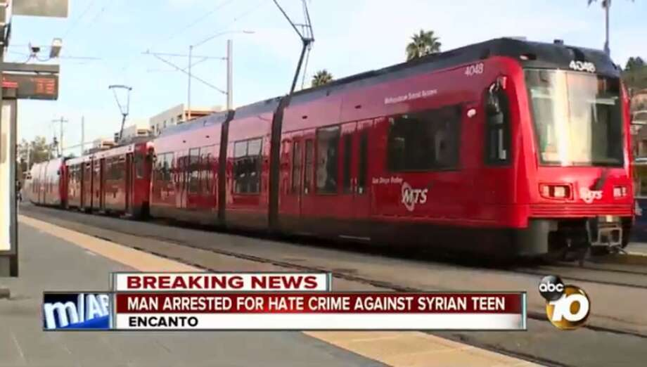 On Oct. 15, a 17-year-old Syrian refugee was beaten on a San Diego trolley for speaking Arabic, prosecutors said. Photo: Image By KGTV