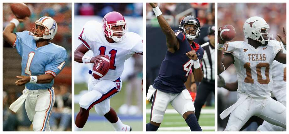 PHOTOS: 2019 Houston Sports Awards Four of Houston's greatest quarterbacks, from left, Warren Moon, Andre Ware, Deshaun Watson and Vince Young, will award diversity scholarships at the Houston Sports Awards annual charity event on Jan. 21. >>>Look back at photos from the event in February ... Photo: Houston Chronicle/wire Photos