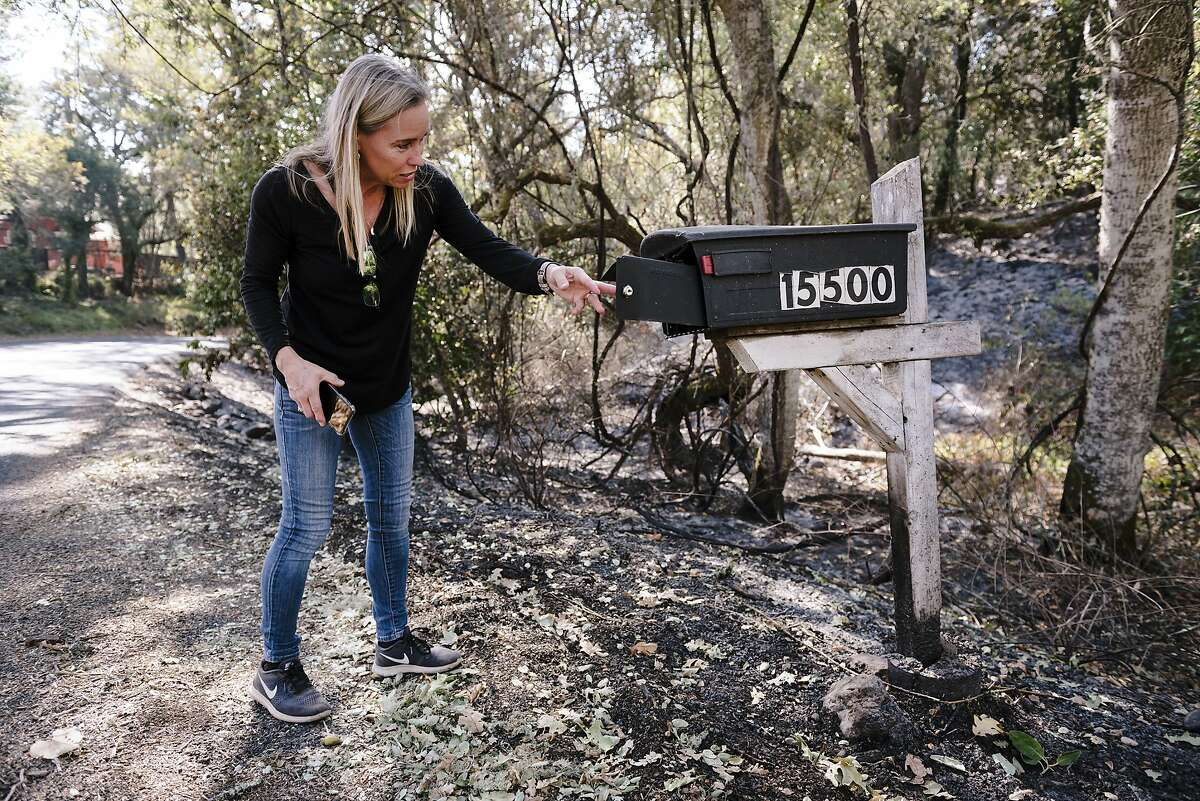 Annie Holden, who's home was spared by the Kincade Fire, said she found singed mail in her partially burned mailbox after returning to her home off of Chalk Hill Road in Healdsburg, California, on Monday, November 4th, 2019.