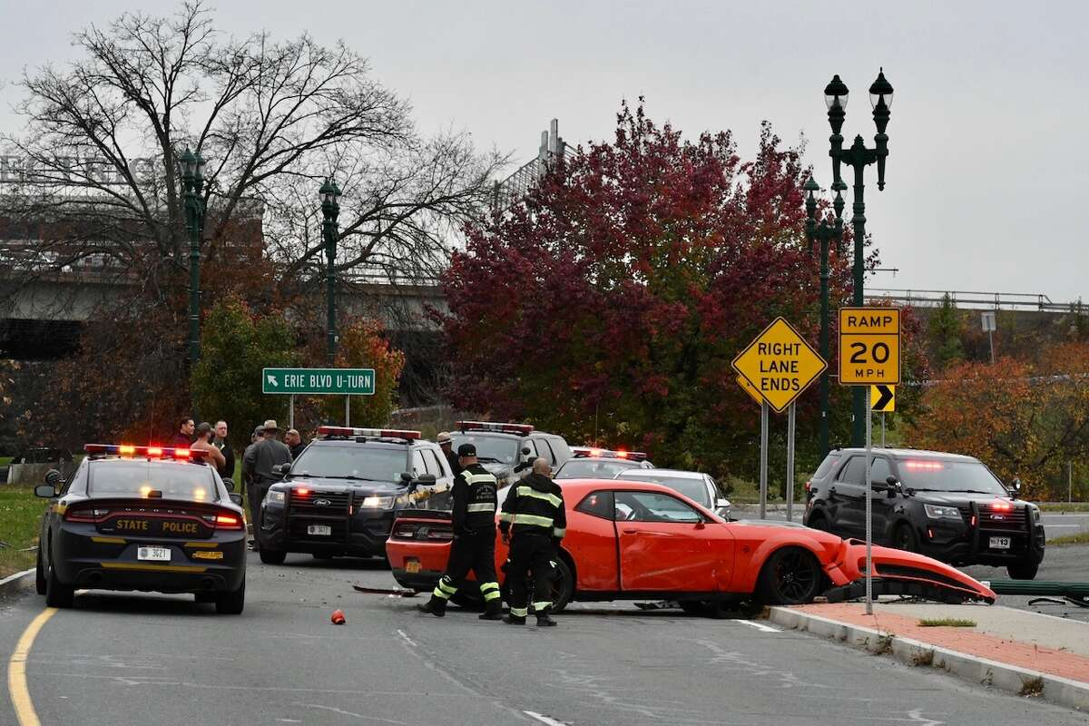 Schenectady police investigate a crash that occurred on Erie Boulevard on Tuesday. Police said the vehicle was believed to have been stolen from a location in Albany. Schenectady police investigate a crash that occurred on Erie Boulevard on Tuesday. Police said the vehicle was believed to have been stolen from a location in Albany.