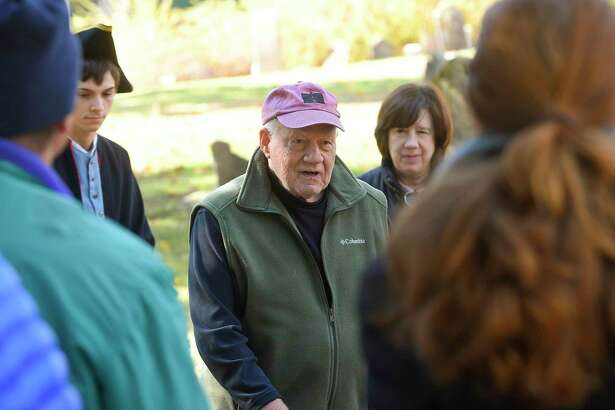 Wilton town historian Bob Russell gives a brief introduction and history of the town prior to the Spirits of the Past cemetery walk and reenactment at Sharp Hill Cemetery in Wilton on Nov. 2. Sharp Hill is the oldest surviving cemetery in Wilton, dating back to 1738 when John Marvin gave a small parcel of land to the Congregational Society of Wilton as a site for a meeting house.