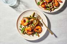 Thai Seasoned Roasted Shrimp with Green Beans, Chile, Peanuts and Herbs