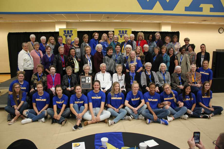 WBU Flying Queens pose with the honorees from the 1948-1982 teams during a ceremony to induct the team into the WBU Athletics Hall of Honor Saturday morning. Photo: Alex Driggars/For The Herald