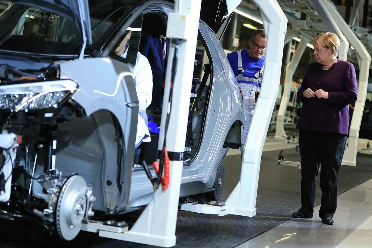 Angela Merkel visits the VW ID.3 electric car factory in Zwickau, Germany