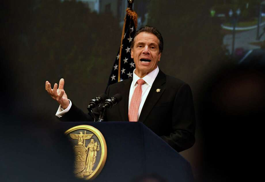 Gov. Andrew Cuomo speaks during an announcement that Schenectady will receive $10 million from the state for the revitalization of its downtown district on Tuesday, Nov. 5, 2019, at Proctors Theatre in Schenectady, N.Y. The money was awarded to the city through the fourth round of the state's Downtown Revitalization Initiative, which invests annually in 10 plans across the state that are intended to turn around local communities. (Will Waldron/Times Union) Photo: Will Waldron, Albany Times Union / 40048200A