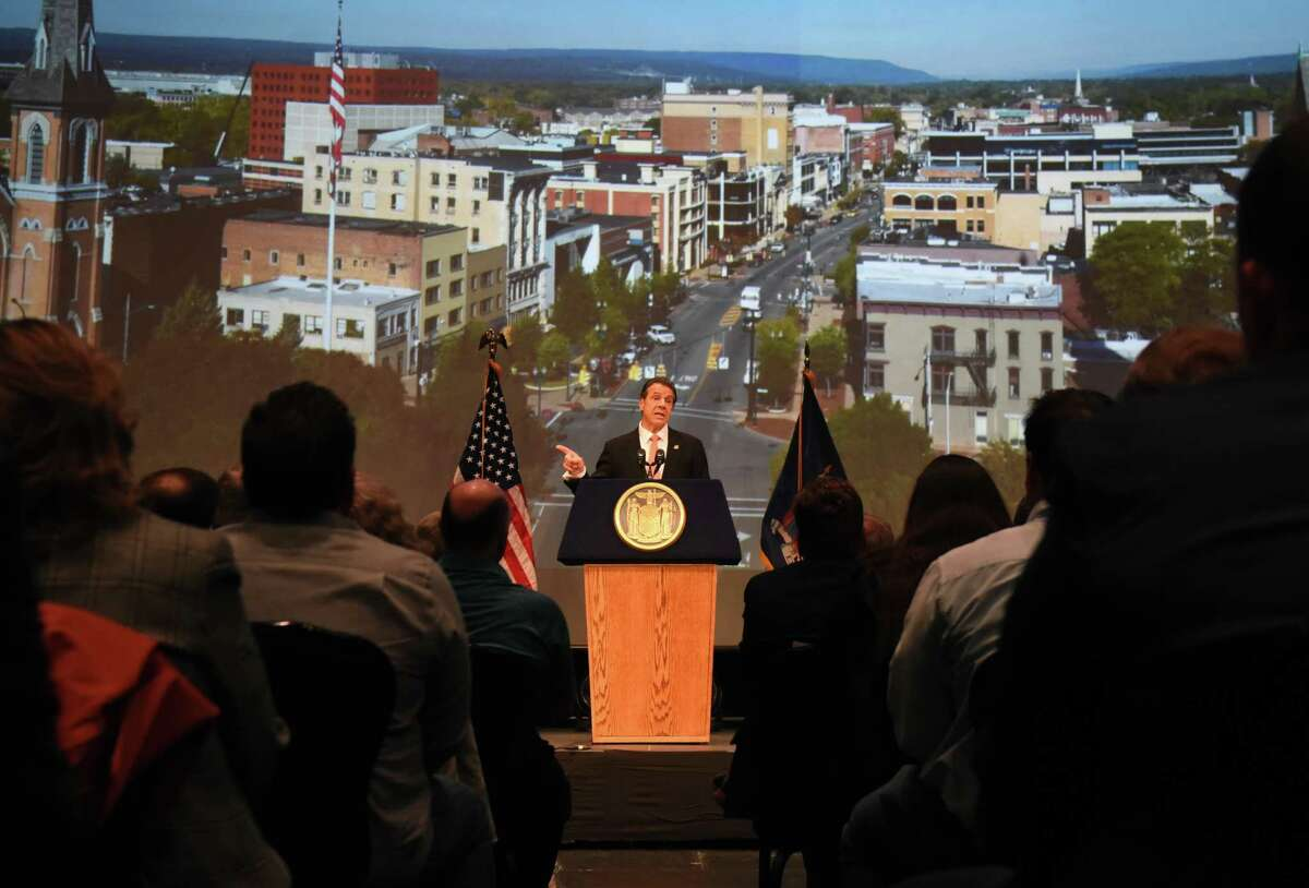 Gov. Andrew Cuomo speaks during an announcement that Schenectady will receive $10 million from the state for the revitalization of its downtown district on Tuesday, Nov. 5, 2019, at Proctors Theatre in Schenectady, N.Y. The money was awarded to the city through the fourth round of the state's Downtown Revitalization Initiative, which invests annually in 10 plans across the state that are intended to turn around local communities. (Will Waldron/Times Union)