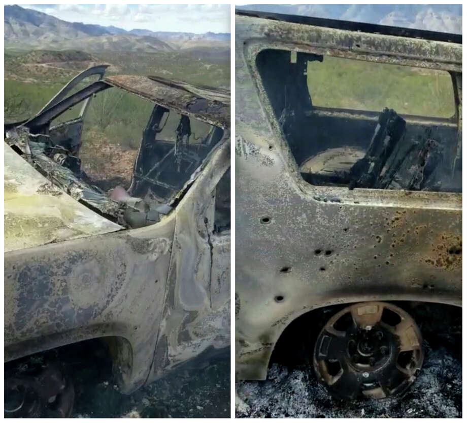 This combination of frames from Nov. 4, 2019, video by Kenny Miller and posted on the Twitter account of Alex LeBaron shows two views of a burned-out vehicle that was being used by some members of the LeBaron family as they were driving in a convoy near the Sonora-Chihuahua border in Mexico. Mexican authorities say drug cartel gunmen ambushed multiple vehicles, including this one, slaughtering several women and children. (Kenny Miller/Courtesy of Alex LeBaron via AP) Photo: AP