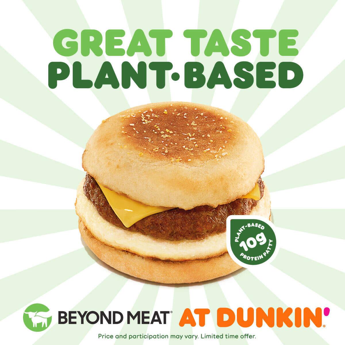 Dunkin's newest menu item is the Beyond Sausage Sandwich.