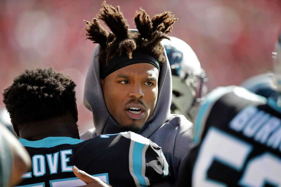 Carolina Panthers quarterback Cam Newton stands on the sidelines during the first half of an NFL football game against the San Francisco 49ers in Santa Clara, Calif., Sunday, Oct. 27, 2019. (AP Photo/Ben Margot) Photo: Ben Margot, Associated Press / Copyright 2019 The Associated Press. All rights reserved