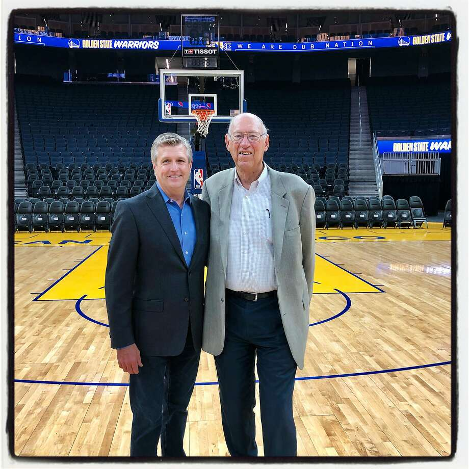 Golden State Warriors President Rick Welts (left) with architect Art Gensler at Chase Center. Oct. 23, 2019. Photo: Catherine Bigelow / Special To The Chronicle