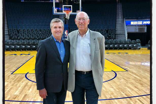 Golden State Warriors President Rick Welts (left) with architect Art Gensler at Chase Arena. Oct. 23, 2019.