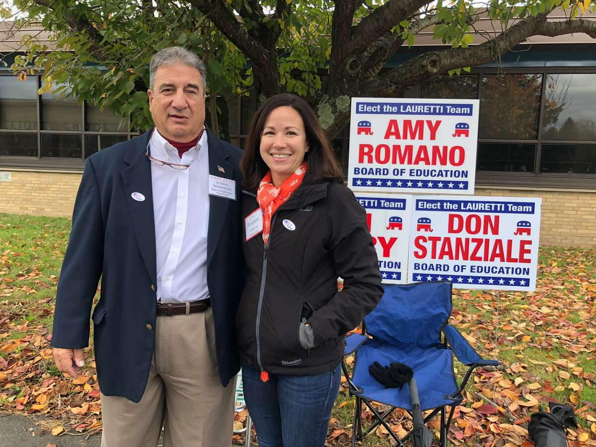 Anthony Simonetti, seeking re-election to the Board of Aldermen's First Ward, with Republican Board of Education hopeful Amy Romano at Elizabeth Shelton School Tuesday, Nov. 5.