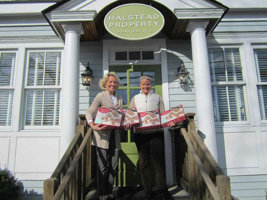 Realtor Susan Valk of the Halstead Property Real Estate firm, and New Canaan Chamber of Commerce Director Tucker Murphy announce that gingerbread house kids for young builders will be available at Halstead in New Canaan, during recent preparations for one of the town's past Holiday Strolls. Halstead Property is consolidating their 6 South Avenue., satellite office in New Canaan, and their main office at 183 Elm Street, into one location at 183 Elm Street, effective immediately. Photo: New Canaan Chamber Of Commerce / Contributed Photo / New Canaan Advertiser Contributed