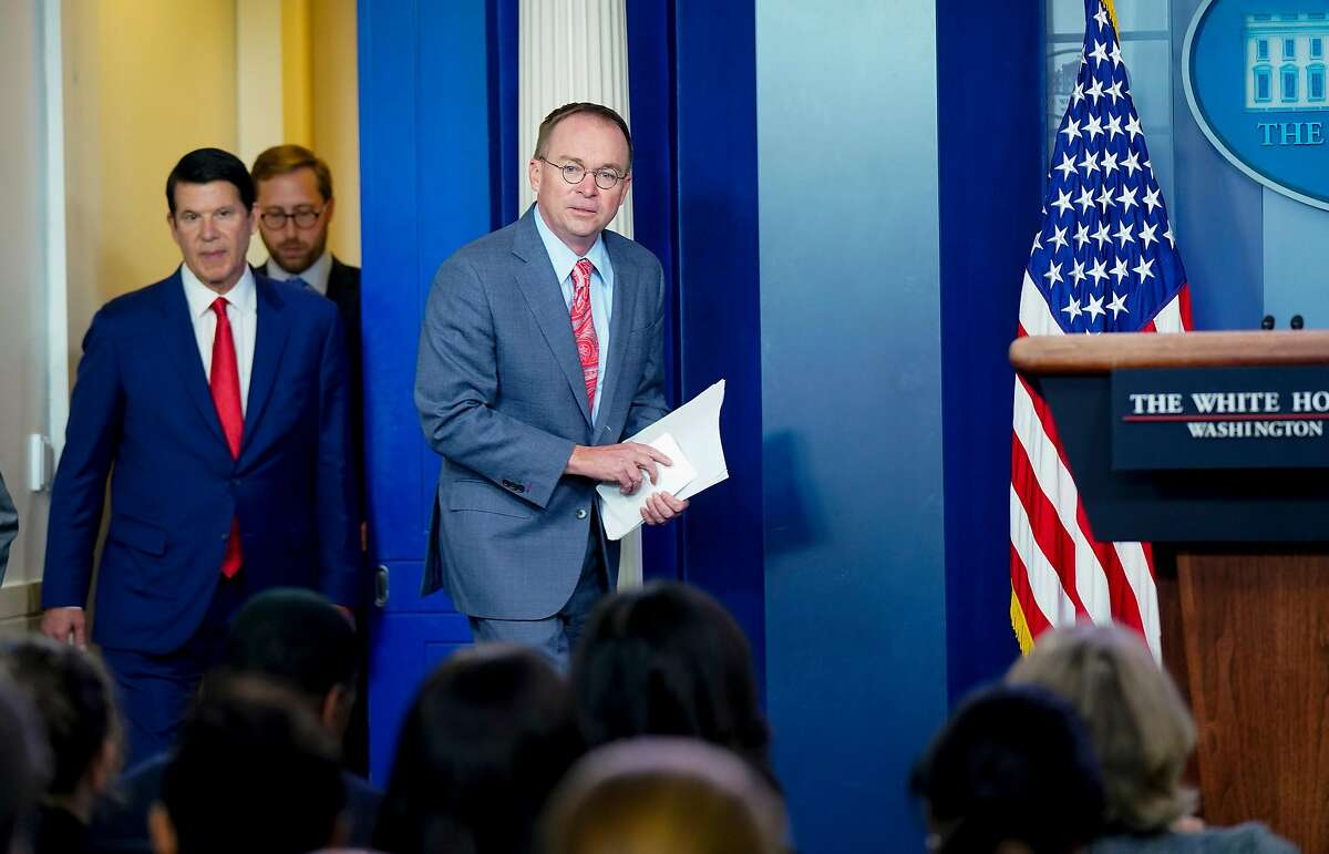 Acting White House Chief of Staff Mick Mulvaney addresses a news conference at the White House in Washington, Oct. 17, 2019. A group of conservative activists voiced their support for Mulvaney, telling President Donald Trump in a letter that the �D.C. swamp is attacking him� and urging the president to permanently appoint him to the job. (Leigh Vogel/The New York Times)