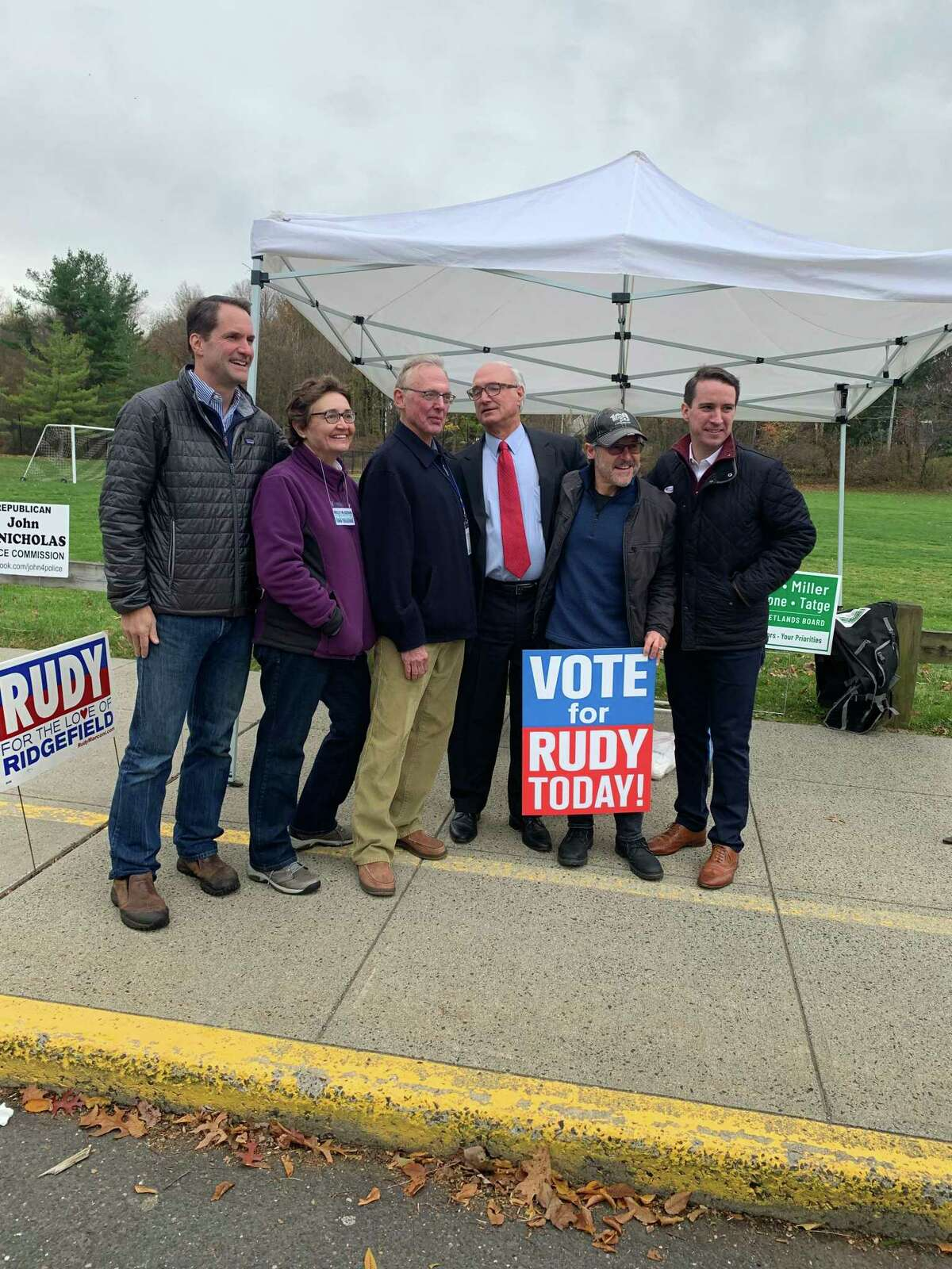 Congressman Jim Himes was in Ridgefield on Tuesday, Nov. 5, 2019, campaigning for First Selectman Rudy Marconi's re-election.
