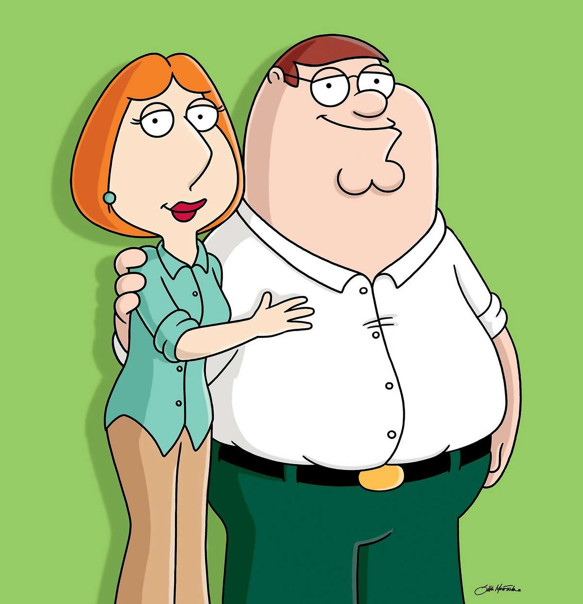 """In this image released by Fox Broadcasting, the characters of Lois and Peter Griffin from """"The Family Guy,"""" are shown. """"Family Guy"""" was canceled in 2001, but MacFarlane would get the last laugh when it was picked back up in 2005 and has produced new shows for Fox every year since, in addition to winning multiple Emmy Awards. The sitcom has drawn on MacFarland's home state in the past, picking on Bridgeport specifically. In 2010, it referenced the city as the worldwide leader in """"wild dogs and gas stations without pumps."""" Then-Mayor Bill Finch laughed it off saying """"we have to remember it's humor."""" MacFarlane has also created """"American Dad!"""" """"The Cleveland Show,"""" directed the movies """"Ted"""" and """"Ted 2"""" and hosted the Academy Awards in 2013. Earlier this year, he signed a $200 million deal with NBCUniversal."""