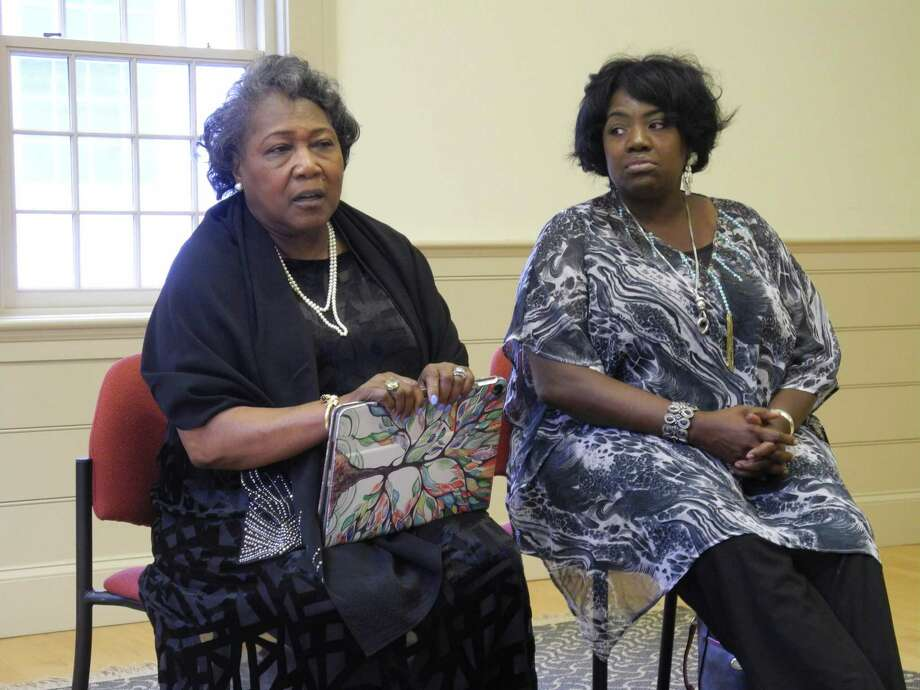 Polly Sheppard, left, and Rose Simmons will be among the members of a panel discussion following the showing of the film Emanuel on Sept. 16, 2019, at Wilton Congregational Church. The film recounts events leading up to and the aftermath of the shooting at Emanuel AME Church in Charleston that took nine lives. The women visited Wilton last year for a program on forgiveness. Photo: Jeannette Ross / Hearst Connecticut Media / Wilton Bulletin