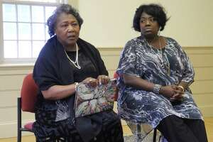 Polly Sheppard, left, and Rose Simmons will be among the members of a panel discussion following the showing of the film Emanuel on Sept. 16, 2019, at Wilton Congregational Church. The film recounts events leading up to and the aftermath of the shooting at Emanuel AME Church in Charleston that took nine lives. The women visited Wilton last year for a program on forgiveness.