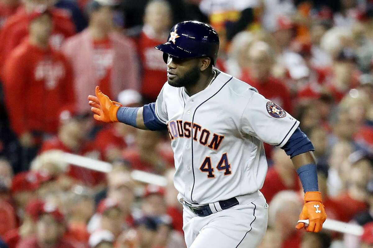 WASHINGTON, DC - OCTOBER 27: Yordan Alvarez #44 of the Houston Astros celebrates as he hits a two-run home run against the Washington Nationals during the second inning in Game Five of the 2019 World Series at Nationals Park on October 27, 2019 in Washington, DC. (Photo by Rob Carr/Getty Images)