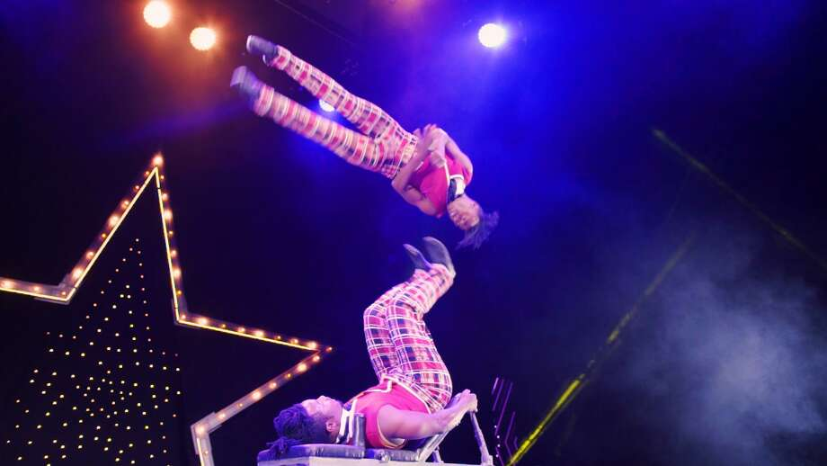 Acrobatic flips are part of the action at the cirque show. Photo: Lou Baldanza / Contributed Photo