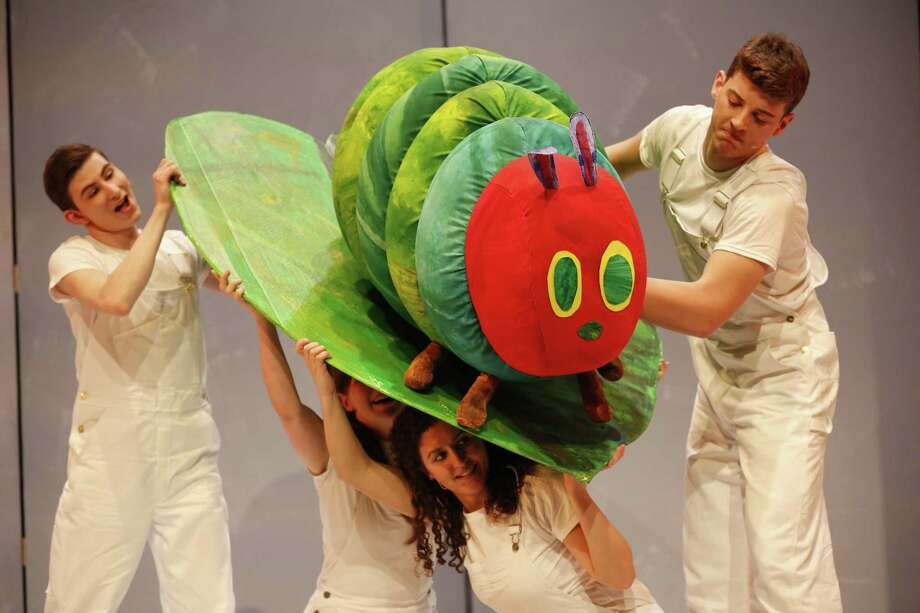 "Cast members guide ""The Very Hungry Caterpillar"" through its paces during the show. Photo: Shubert Theatre / Contributed Photo"