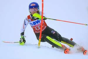 KILLINGTON, VERMONT - NOVEMBER 25: Mikaela Shiffrin of the United states competes the second run of the Women's Slalom at the Audi FIS Ski World Cup on November 25, 2018 in Killington, Vermont.