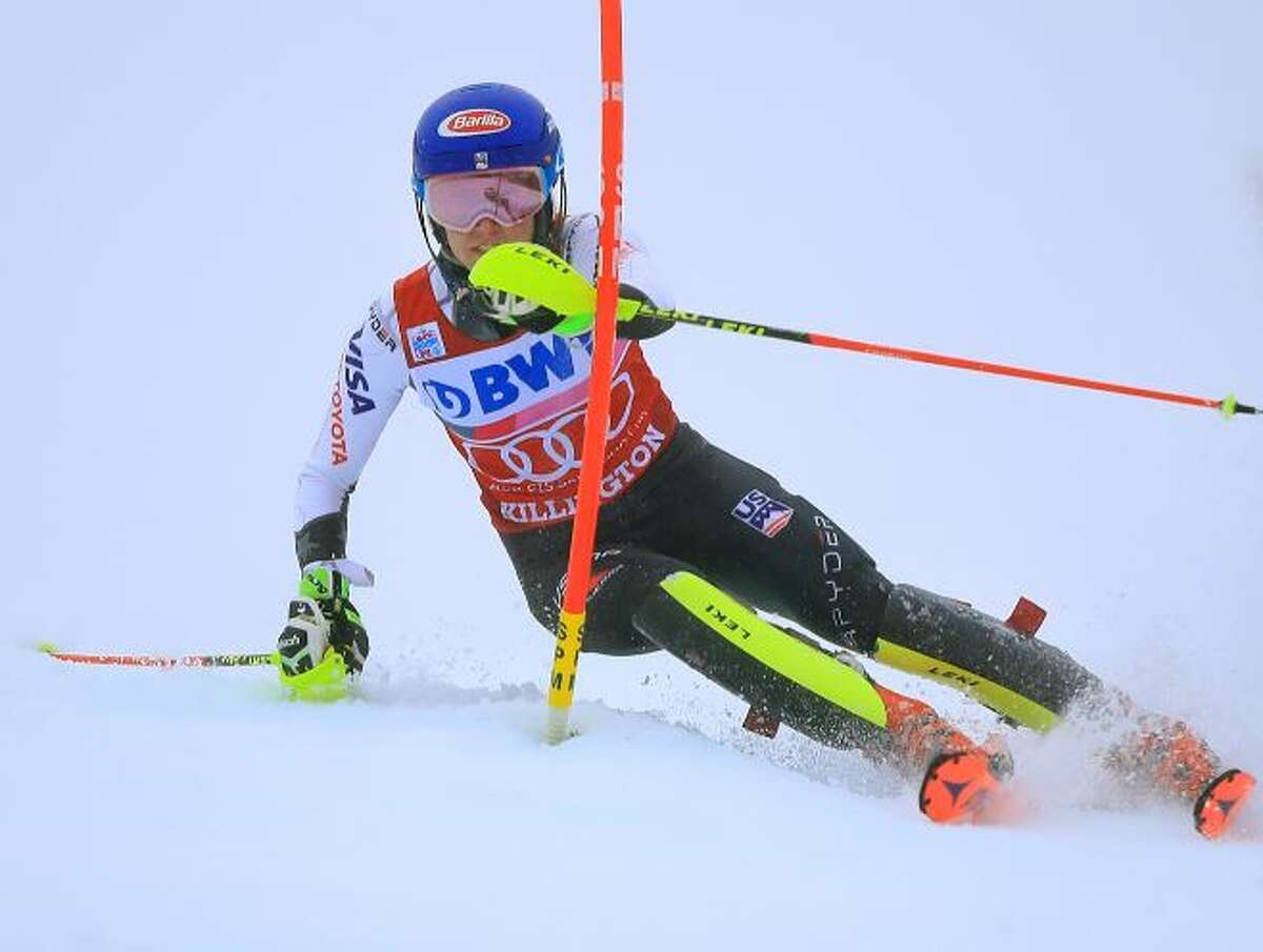 Mikaela Shiffrin of the United states competes the second run of the Women's Slalom at the Audi FIS Ski World Cup on November 25, 2018 in Killington, Vermont.