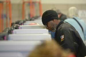 Ken Hoskey, of Danbury, votes at Shelter Rock School in Danbury, Conn, on Tuesday afternoon, November 5, 2019.