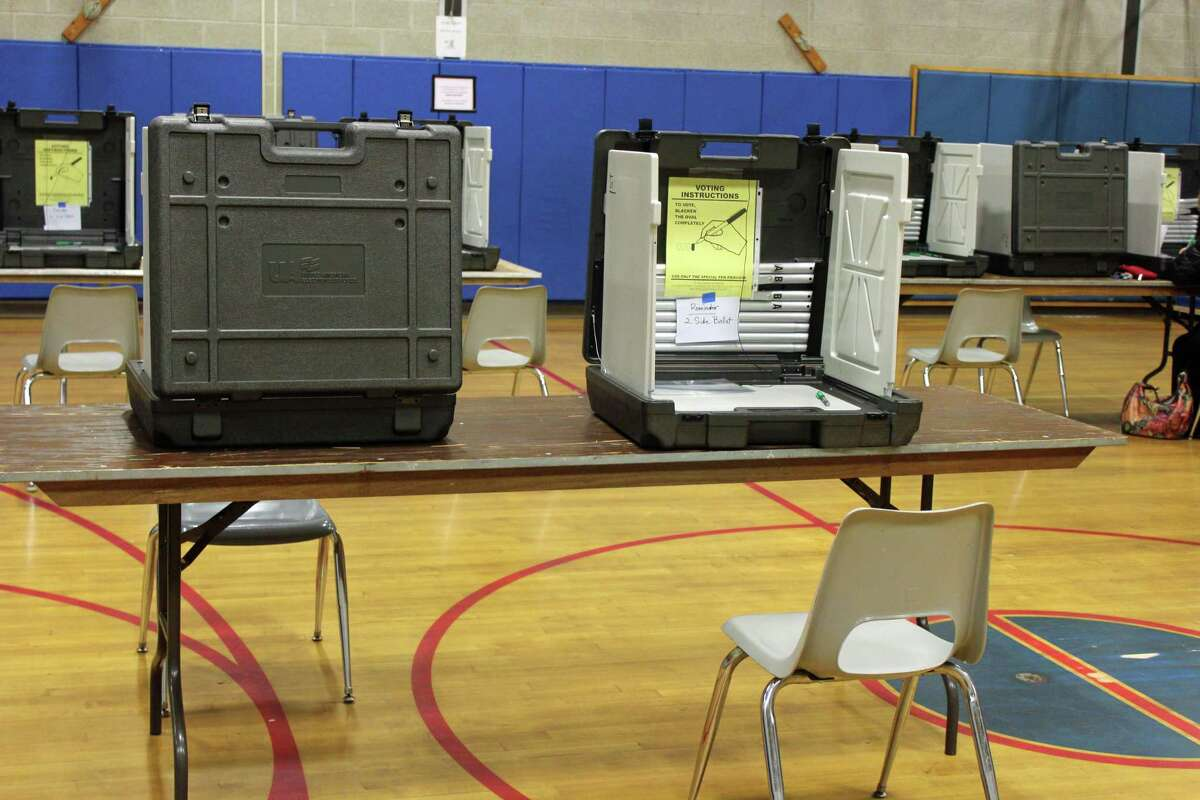 A typical voting booth in Fairfield.
