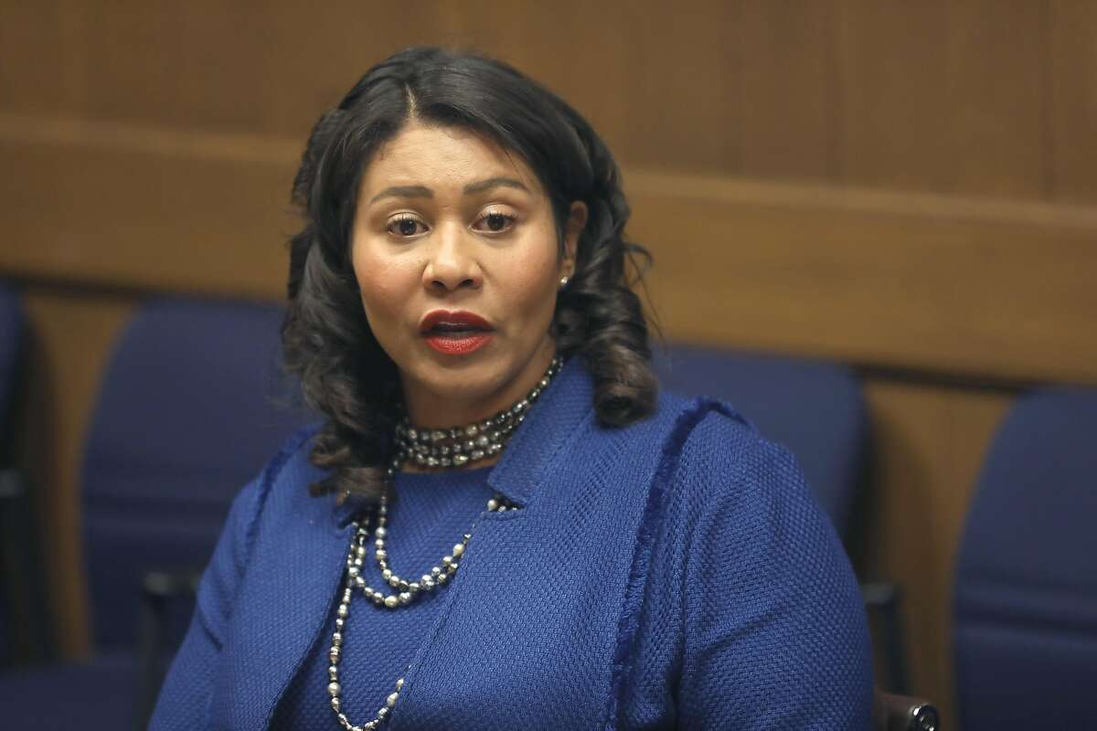 Mayor London Breed makes an announcement about homelessness at the San Francisco Chronicle Tuesday, Oct. 15, 2019, in San Francisco, Calif.