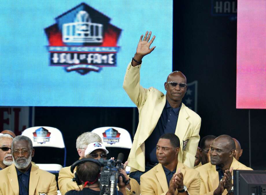 FILE - In this Aug. 2, 2014, file photo, enshrinee Eric Dickerson is introduced during the Pro Football Hall of Fame enshrinement ceremony, in Canton, Ohio. (AP Photo/David Richard, File) Photo: David Richard/Associated Press